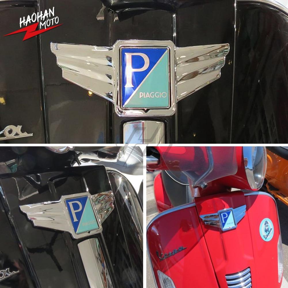 Para Piaggio Vespa GTS300 GTS 300 súper motocicleta cromo alas logotipo Trim