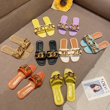 2021 ladies sandals casual large size flat shoes new summer slippers chain metal buckle flip flops b