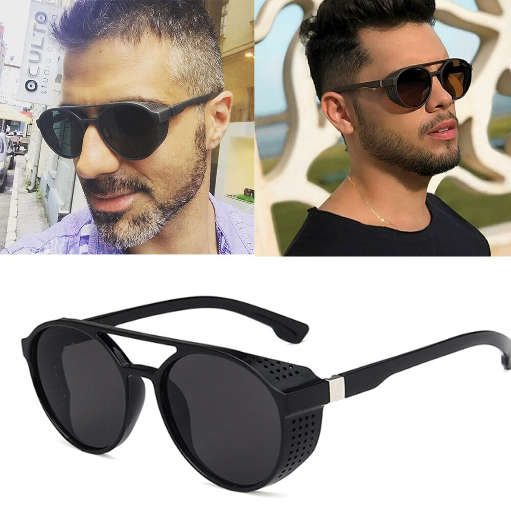 2020 Classic Punk Sunglasses Men Brand Designer Vintage Sun Glasses for Oculos De Sol Gafas UV400