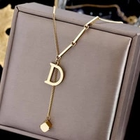 fashion letter titanium steel choker necklace for woman gothic korean jewelry hip hop party girls sexy clavicle chain