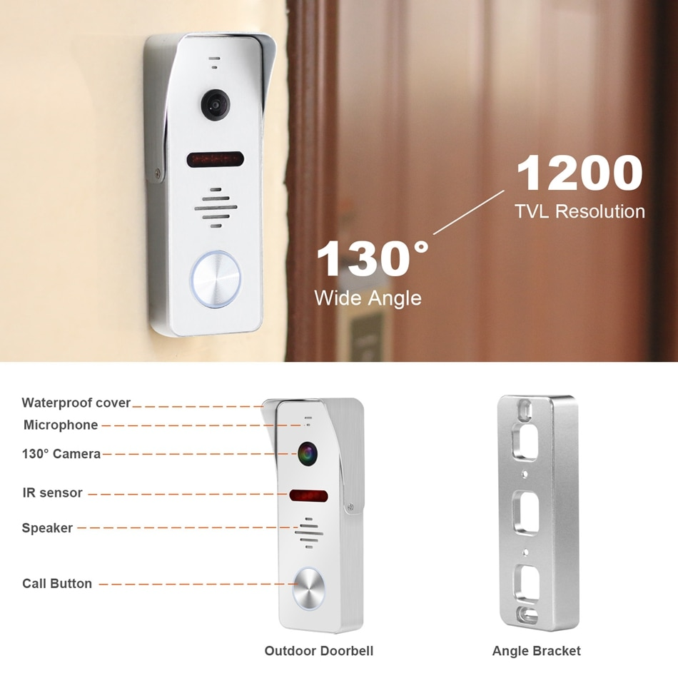Wired Video Door Phone For Home 2 Monitors 1 Doorbell with 2 Cameras  Support Motion Detection Infrared Night Vision enlarge