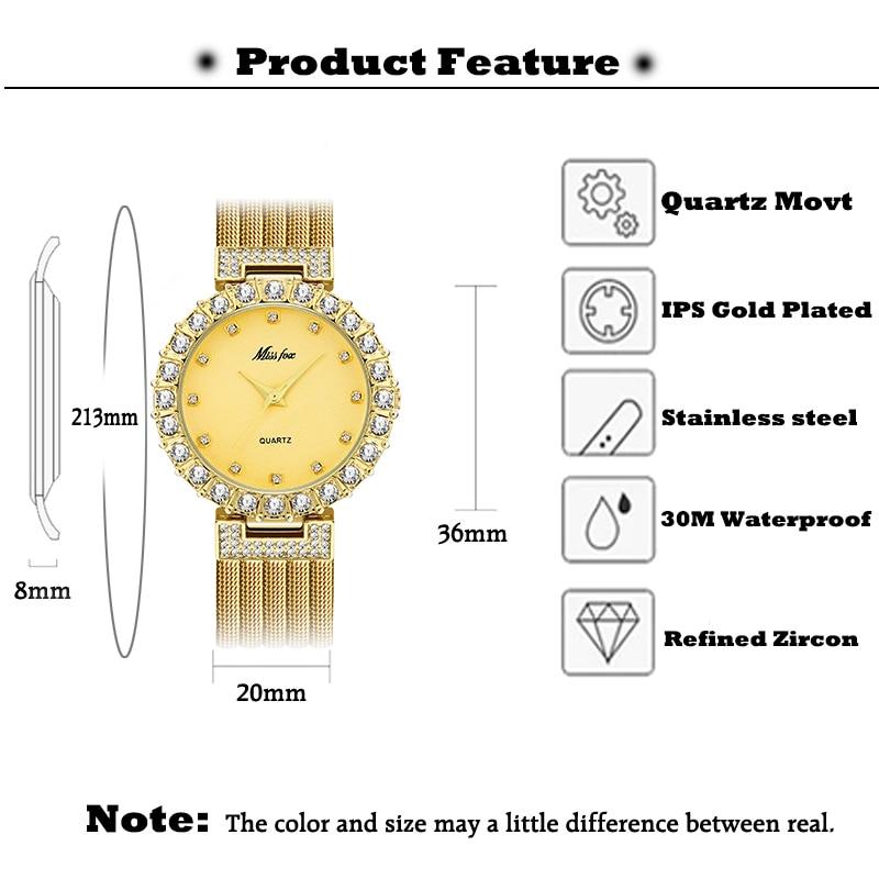 MISSFOX Rose Gold Women's Watch Brand Luxury Woman Fashion Simple Elegant Style Dress Watches Waterrproof Ladies Wristwatch Gift enlarge