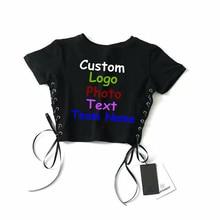 Custom logo design style heavy industry air eye side strap short navel T-shirt high waist short sleeve pullover jacket