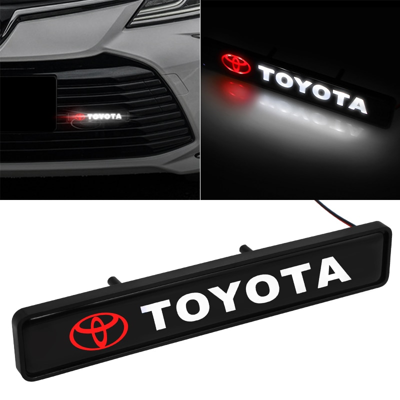 Pegatina para coche, emblema de capó de rejilla delantera, luces decorativas LED para toyota Corolla Rav4 Yaris Avensis Camry c-hr 86 Prius