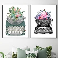 watercolor typewriter flower cactus canvas art print nordic poster and prints painting modern home decoration wall pictures gift
