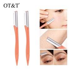 OT&T 2pcs Eyebrow Shaver Eyebrow Trimmer Shaper Makeup Knife Portable Facial Hair Remover Blade Razo