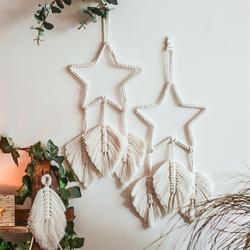 1pc boêmio sonho apanhador macrame estrela handwoven parede pendurado dreamcatcher ornamento para o quarto sala de estar decoração