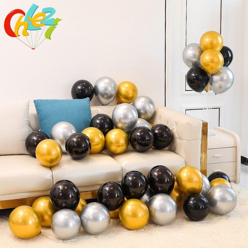 50 pçs 12 polegada ouro prata preto metálico látex balões decorações de casamento cromo hélio globos decoração da festa de aniversário adulto