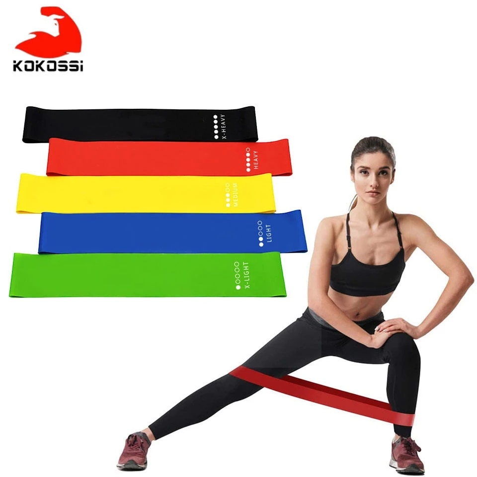 KoKossi Yoga Resistance Bands Stretching Rubber Loop Exercise Fitness Equipment Strength Training Body Pilates Strength Training