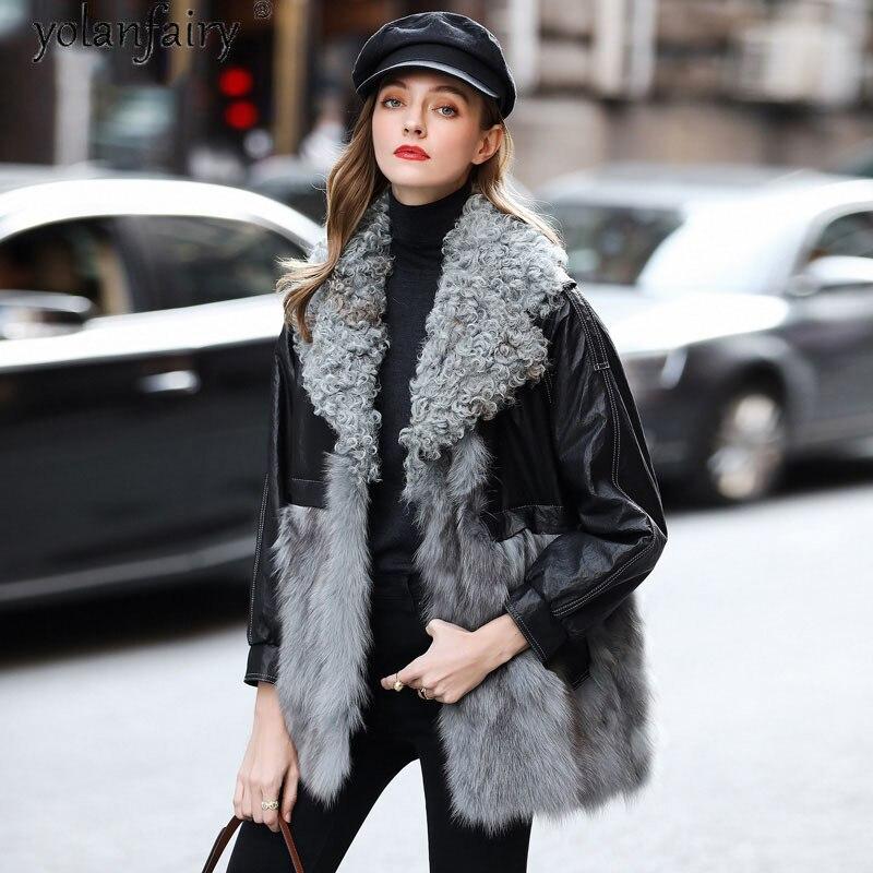 معطف فرو الثعلب الحقيقي موضة النساء معطف جلد الغنم في فصل الشتاء وطوق الفرو الصوف سترة الإناث الملابس الفاخرة النساء 2020 Roupas Femeninas