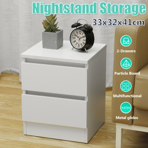 2-Drawer Chest Of Drawers Nightstands Wardrobe Bedside Table Hallway Storage Bedroom MDF Cabinet Household Furniture 33x32x41cm