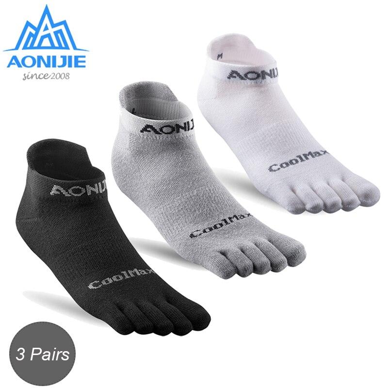 AONIJIE, 3 pares, calcetines ligeros de punta Baja atléticos, calcetines de cuarto para calcetines de cinco dedos, Yoga, correr, zapatos de carrera Marathon