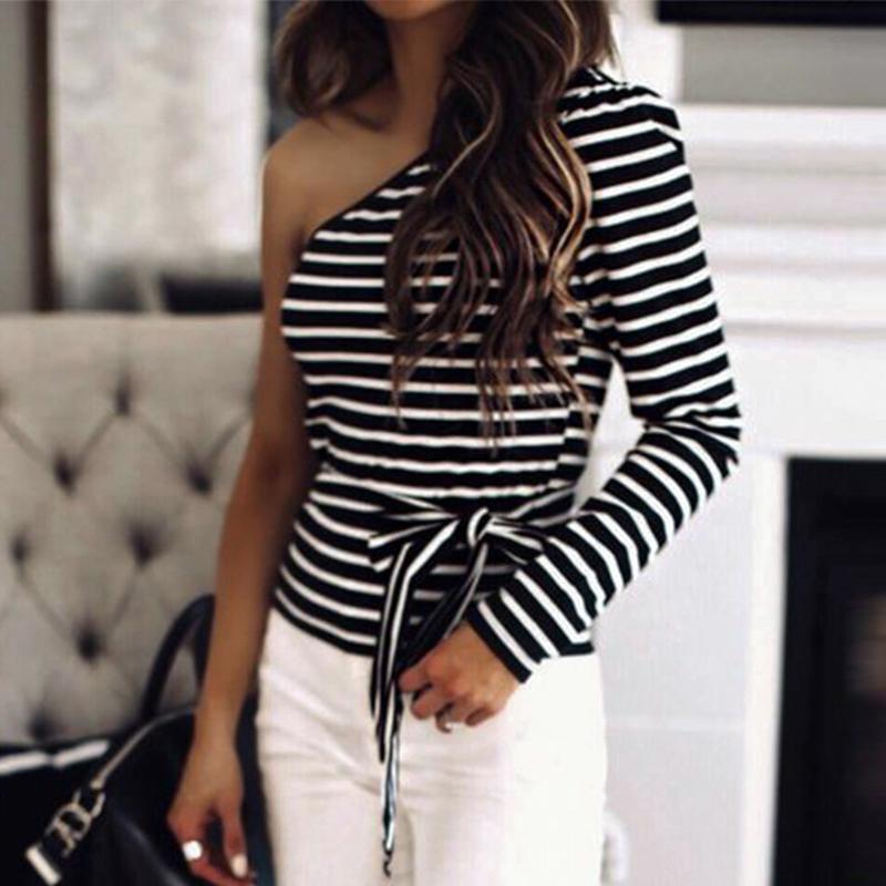 Mossha elegante rayas un hombro blusas delgadas mujeres XL 2019 Otoño Invierno cinturón tops lace up Oficina fiesta blusa streetwear