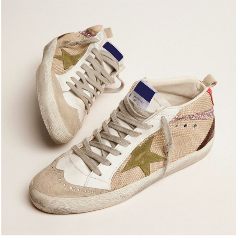 Autumn New Children's Casual Shoes Top Layer Cowhide Retro Old Breathable Stitching Fashion Mid-help Parent-child Sneakers QZ153 enlarge
