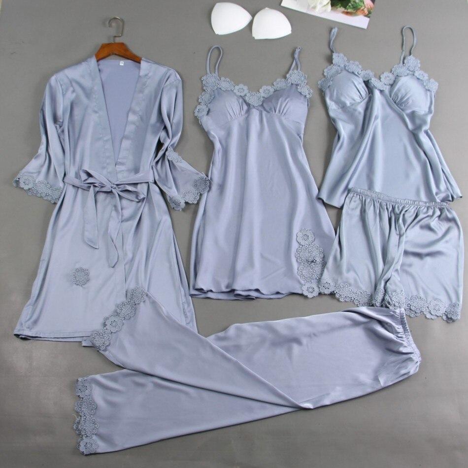 5 uds. Conjunto de pijamas de satén Kimono de señora bata de baño de encaje camisón ropa de dormir Sexy nupcial regalo de boda pijama
