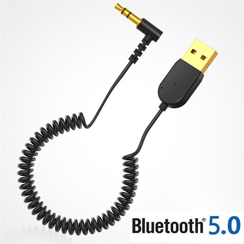 Adaptador Bluetooth V5.0 con conector USB de 3,5mm, Cable Aux para receptor y transmisor de Audio, adaptador para altavoz de coche