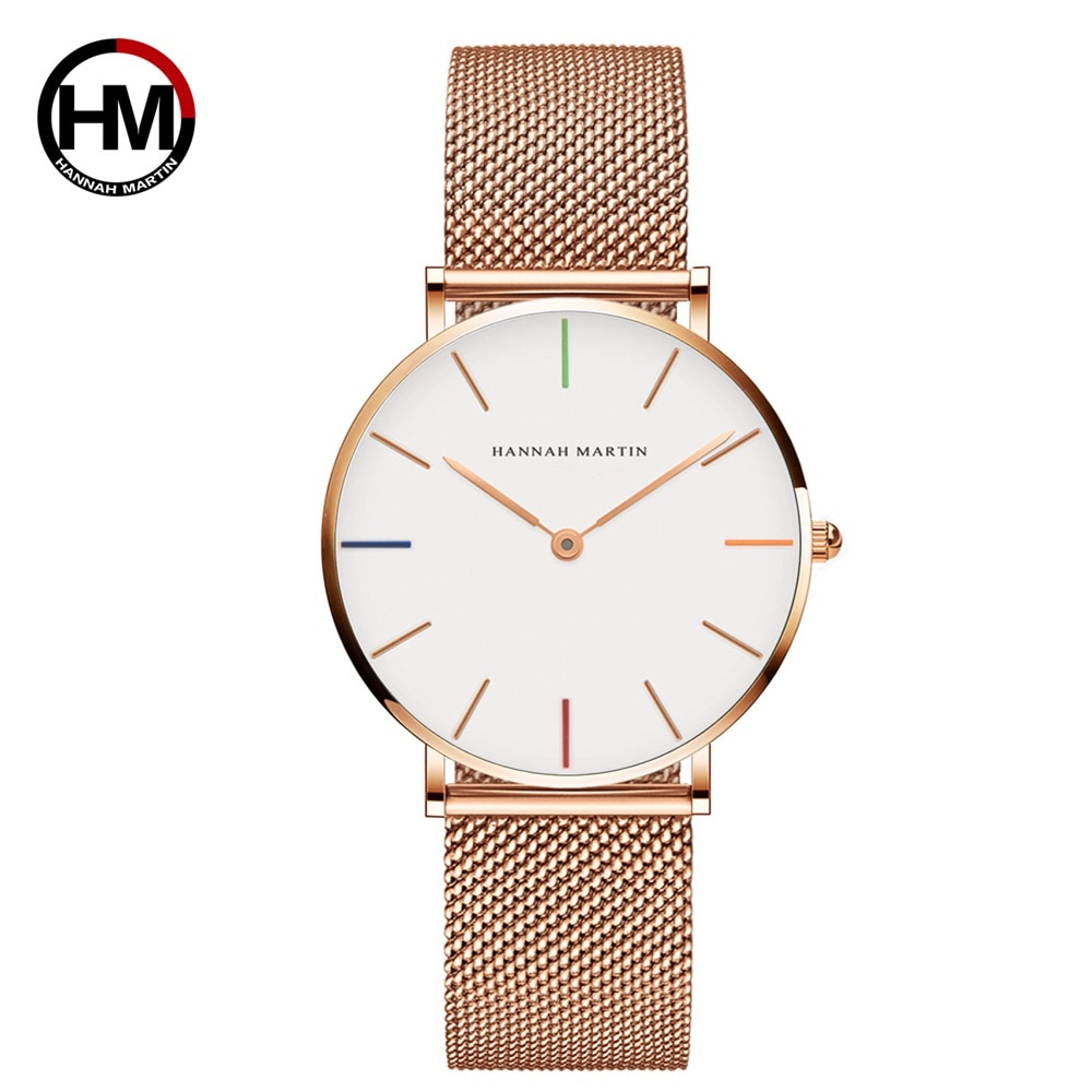 2021 NEW Japan Quartz Movement High Quality 36mm  Women Stainless Steel Mesh Rose Gold Waterproof Ladies Watch Dropshipping
