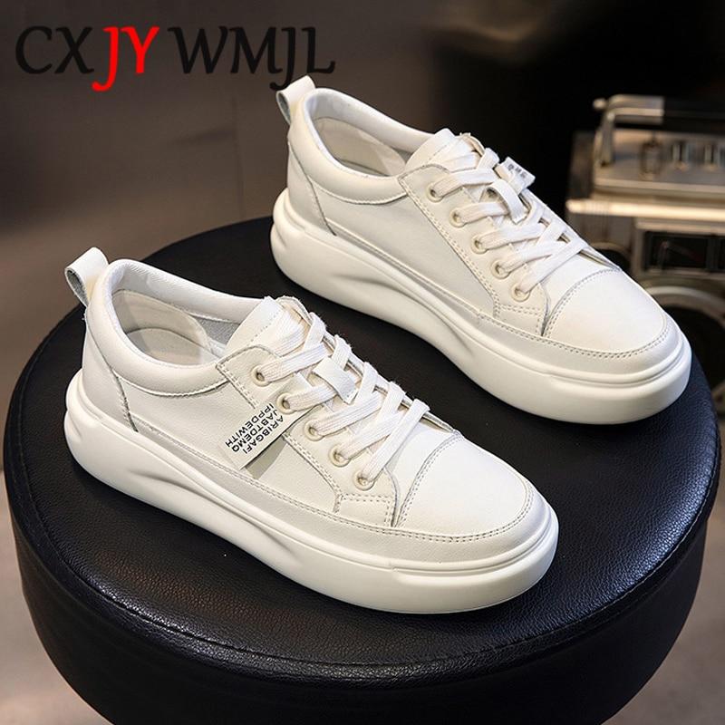 كبيرة الحجم النساء أحذية رياضية الخريف الجلود ضوء أبيض حذاء رياضة الإناث منصة أحذية مفلكنة الربيع حذاء رياضي تنفس عادي