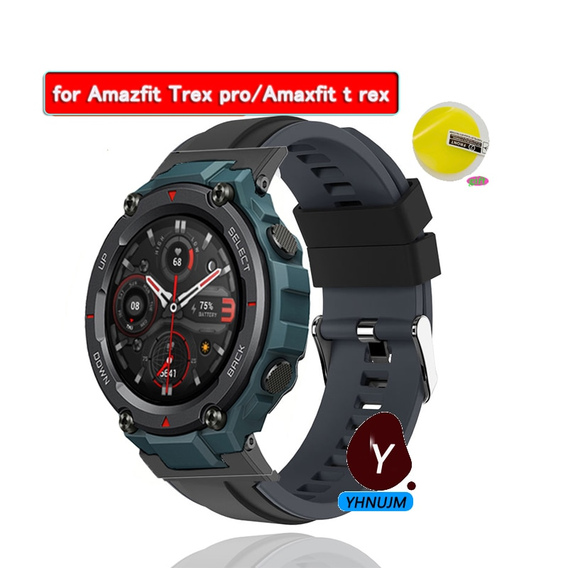 smart watch band for amazfit t rex pro silicone replacement bracelet accessories for amazfit t rex strap watchband with tool watch Band For Huami Amazfit T-Rex pro Strap For Xiaomi Amazfit T REX pro SmartWatch Bracelet Sport Wrist Strap+protector film