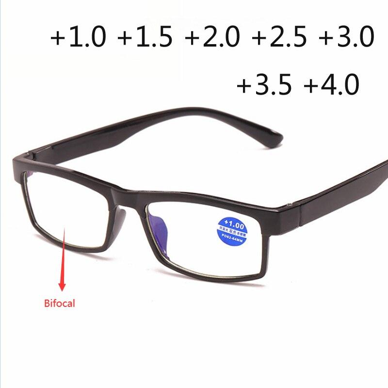 Gafas de lectura cuadradas de moda, Bifocal cerca de la luz azul, gafas de aumento, gafas para presbicia dioptrías + 150 + 200 + 250
