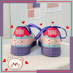 Ladies Shoes Flat Bottom 2021 Spring  Cartoon Purple Color Punk style Design for Female Sneakers