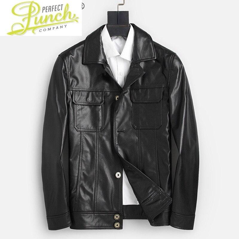 حقيقي 100% جلد البقر سترة الرجال الخريف الأسود رقيقة معطف قصيرة سترة غير رسمية ملابس للرجال Casaco Masculino Gmm12