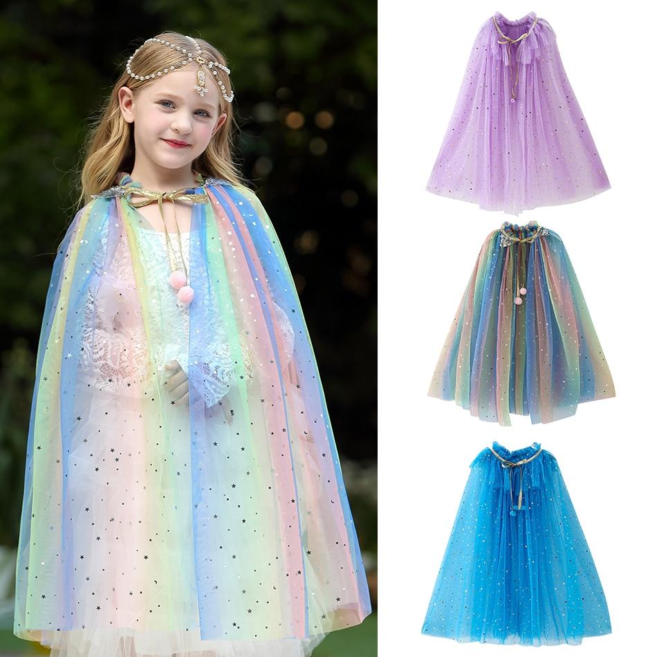 Niñas Seuins capa de fantasía Tippet princesa Dress up Ariel Elsa Aurora Sofia Cenicienta capa niño disfraz de fiesta de Halloween