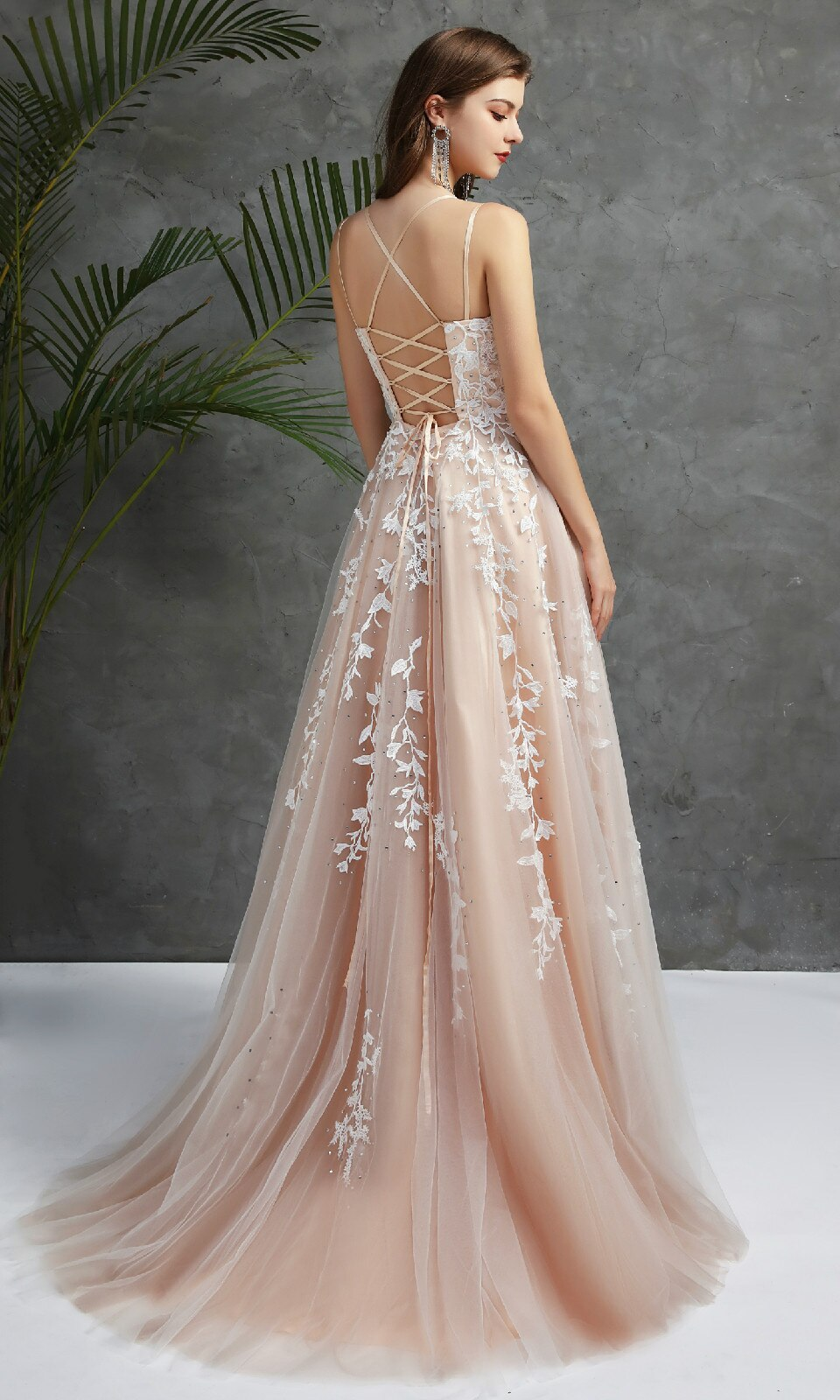 Women's Lace Prom Dress Long Spaghetti Straps Beaded Sleeveless Formal Evening Party Gowns Vestido Robe De Bal Festa Gala Jurken