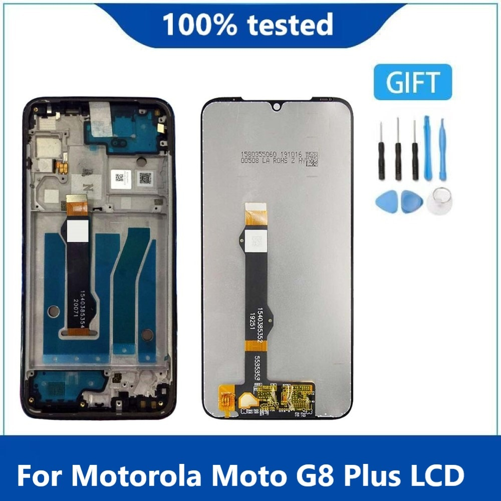 قطع غيار أصلية 6.3 بوصة لهاتف موتورولا موتو G8 Plus شاشة LCD تعمل باللمس مع محول رقمي لشاشة Moto G8Plus مع إطار XT2019