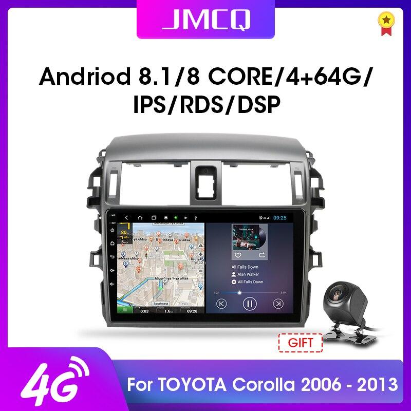 Jmcq 2 din 2g + 32g android 4g rede rádio do carro multimídia player para toyota corolla e140/150 2006-2013 autostereo gps navegação rds