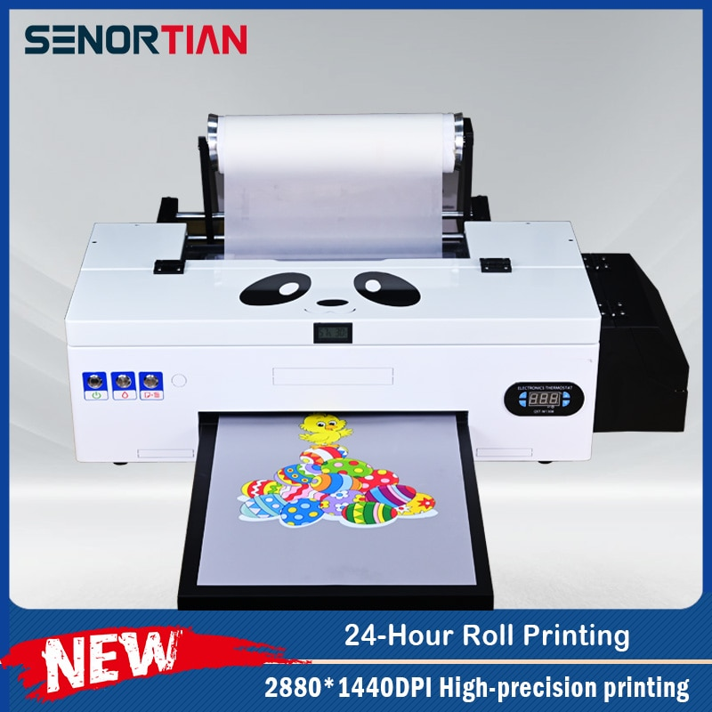 Senortian dtf printer طابعة A3 T قميص آلة طباعة لتقوم بها بنفسك صانع مع إبسون رئيس l1800 R1390 DX5 Roll PET DTF فيلم 100 قطعة مباشرة نقل الحرارة الصحافة
