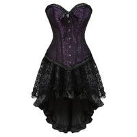 Plus Size Corsets Dress With Skirt Costumes Vintage Striped Lace Up Corset Bustier Shaper Corselet For Women Body sculpting suit