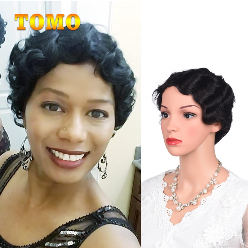 Tomo Finger Wave Short 95% Human Hair Curly Wigs Pixie Cut Nuna Wigs Real Retro African Wig for Women