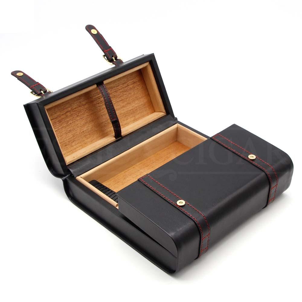 GALINER Portable Humidor Box Big Leather Cedar Wood Cigar Humidor Travel Briefcase Style For Cohiba Cigars W/ Cigar Humidifier enlarge