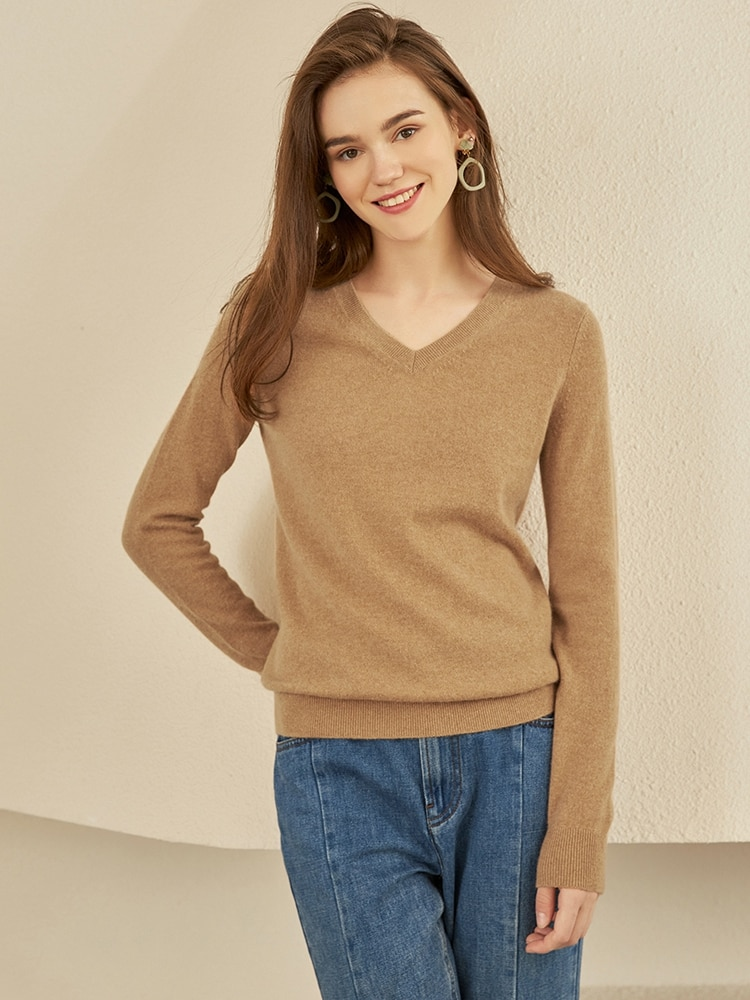 2020 New Style V-neck Pure Cashmere Sweater Women's Knit Sweater Base Sweater