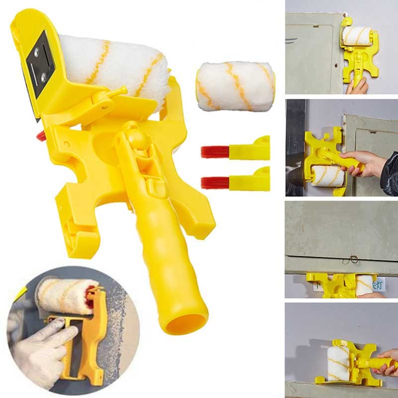 ZK30 Clean-Cut Paint Edger Roller Brush Multifunctional Roller Paint Brush Clean-Cut Paint Edger Wall Painting Roller Brush Set