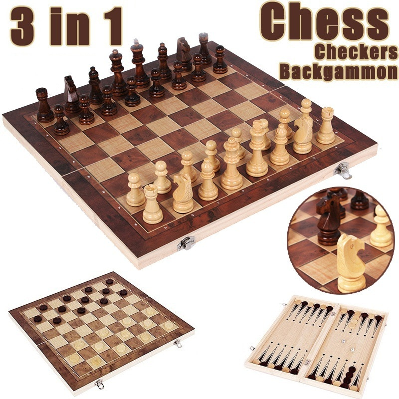 4 size 3 IN 1 Wooden International Chess Set Wooden Chess Board Games Checkers Puzzle Game Engaged Birthday Gift for Kids