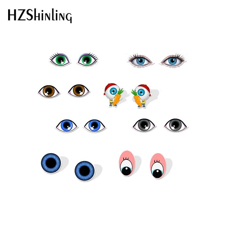 2019 New Blue Eyes Grunge Acrylic Earring Black And White Eye Shrink Dinks Earrings Epoxy Stud Earring