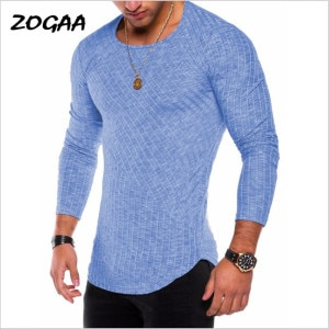 ZOGAA Spring Men T-shirts Plus Size 3XL Long Sleeve Striped T Shirt Casual O-Neck Solid Tshirt Elastic Fitness Hip Hop Tops