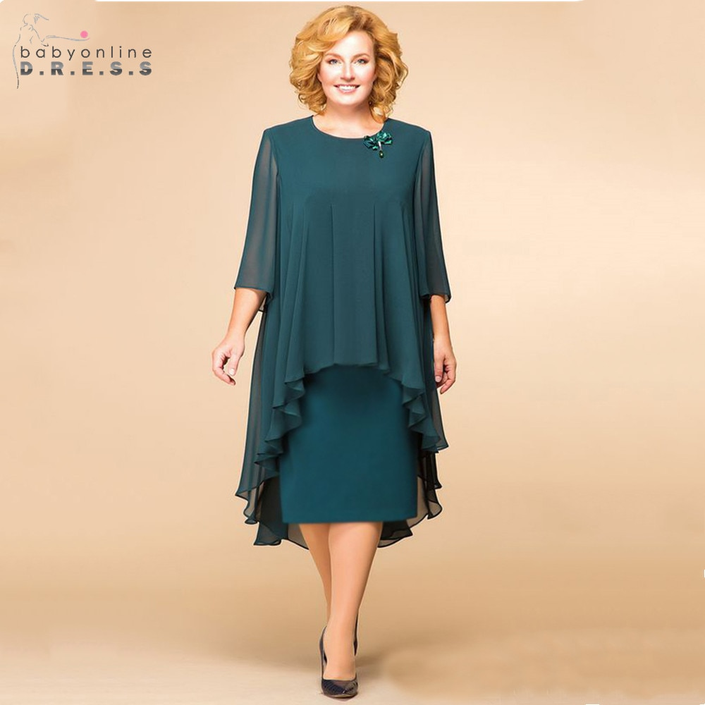 plus size green 2018 mother of the bride dresses a line 3 4 sleeves chiffon lace wedding party dress mother dresses for wedding Plus Size Elegant Green Chiffon Mother Of The Bride Dresses Modest O-neck 3/4 Sleeves Wedding Party Dresses Vestido De Madrinha