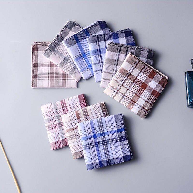 1PC Random Color Pocket Hanky Handkerchiefs Plaid Stripe Cotton Men Pocket Square Business Chest Towel Gentleman Scarves 38*38cm