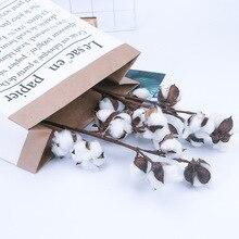 1 pièces 10 têtes naturel coton Branches fleurs artificielles décoration de la maison mariage tenant fleurs plantes mur faux fleurs