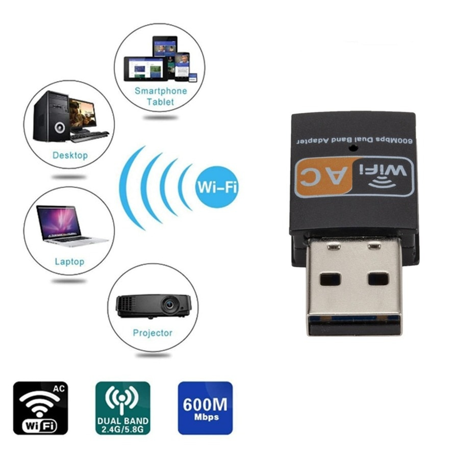 WVVMVV USB Wifi Adapter 802.11b/g/n Antenna 600Mbps USB2.0 Wireless Receiver Dongle Network Lan Card for Laptop TV BOX Wi-Fi enlarge