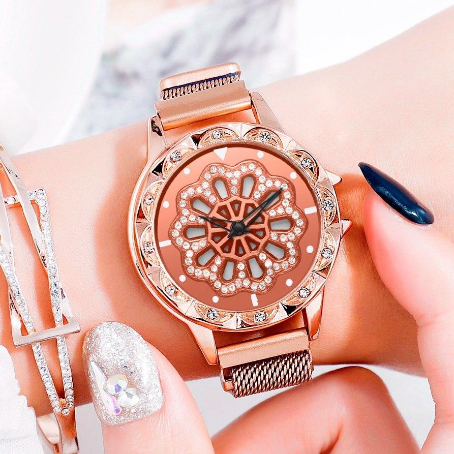 Relojes magnéticos de lujo 360 con diseño de esfera giratoria para mujer, reloj con malla de acero para dama, reloj de cuarzo, reloj femenino