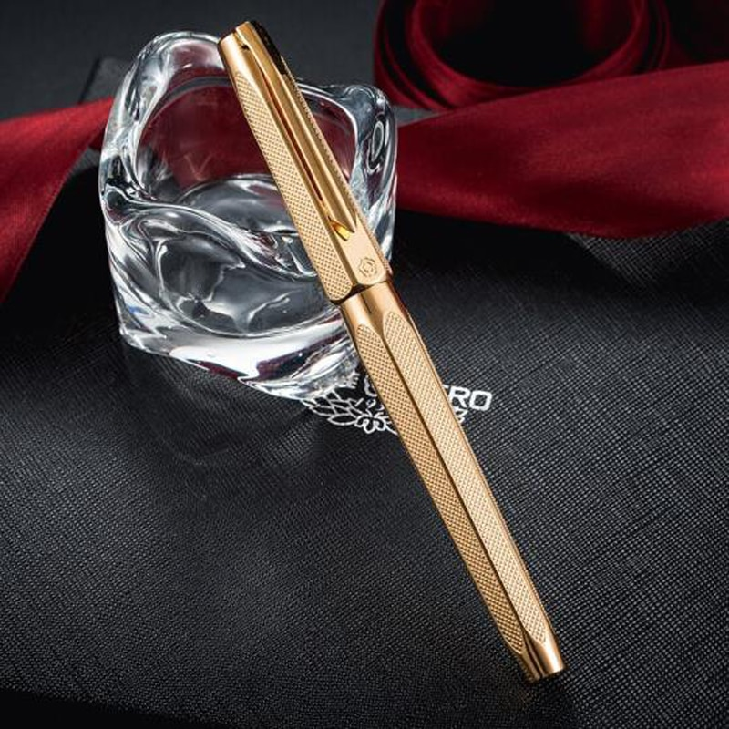 Hero 2191 14K Gold Nib Great Collection Fountain Pen Golden Engraving Ripples Two-head M Nib Pen For Office & Home W/Gift Box