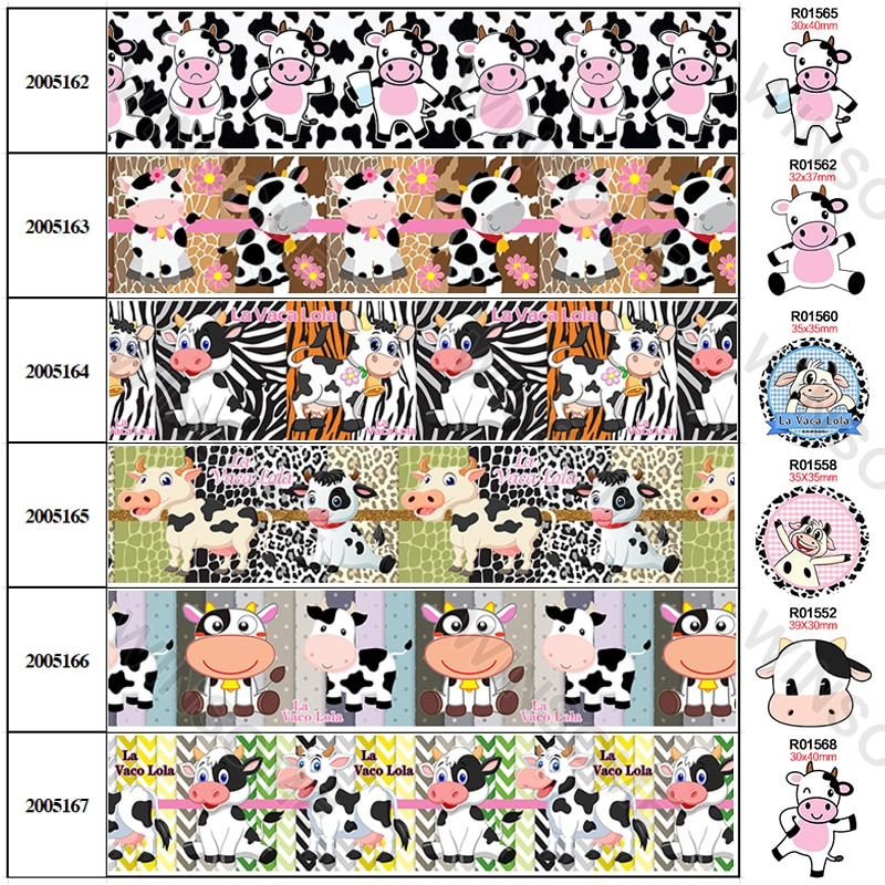 5 jardas dos desenhos animados vaca impresso gorgorão/fita de cetim acessórios de roupas webbing diy material feito à mão 30 peças resinas planar 200516