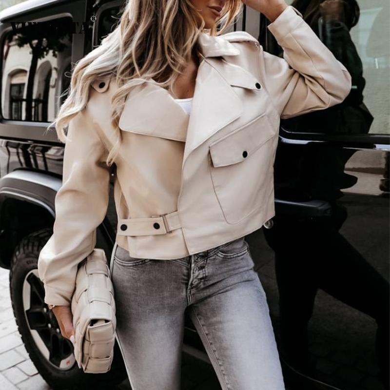 2022 ربيع جديد سترة جلدية للسيدات أنيقة بدوره إلى أسفل طوق سستة قصيرة معاطف النساء الخريف طويلة الأكمام الصلبة ملابس الشارع الشهير