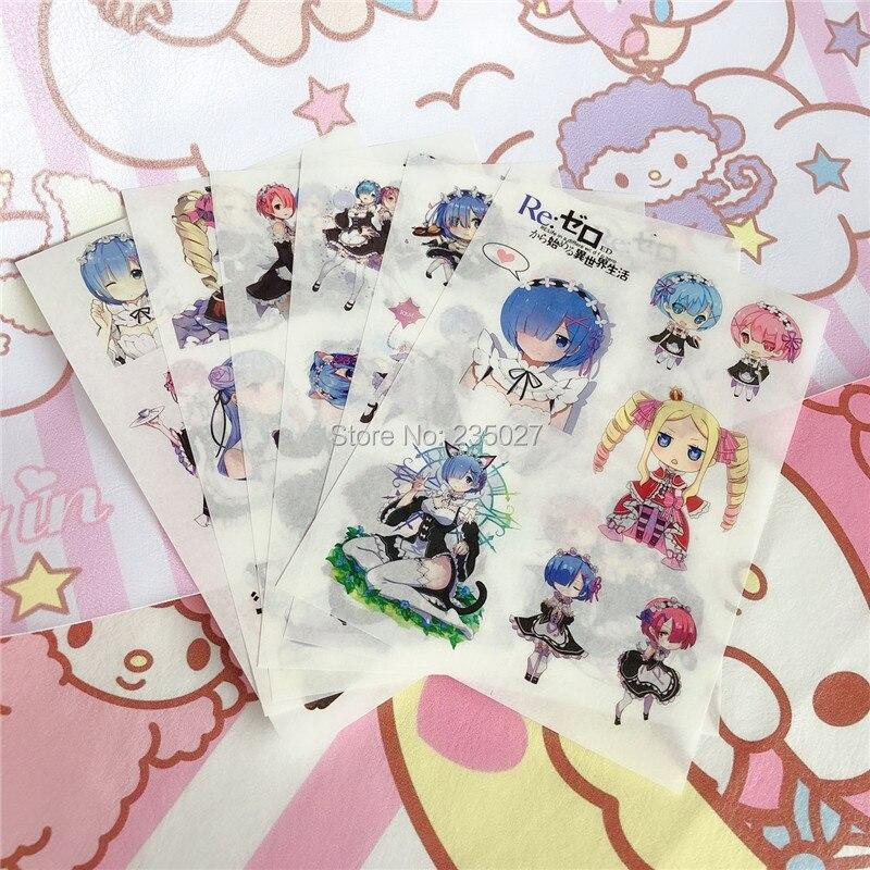 120 hojas/lote Anime Rezero sticker Re zero Emilia Ram Rem pegatinas de pared de dibujos animados Beatrice para regalos de habitaciones de niños