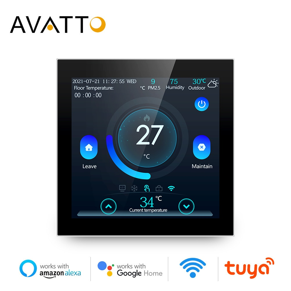 AVATTO Smart Floor Thermostat,Tuya WiFi Electric/Water Heating Temperature Controller,Smart Home for Alexa Google Home Alice