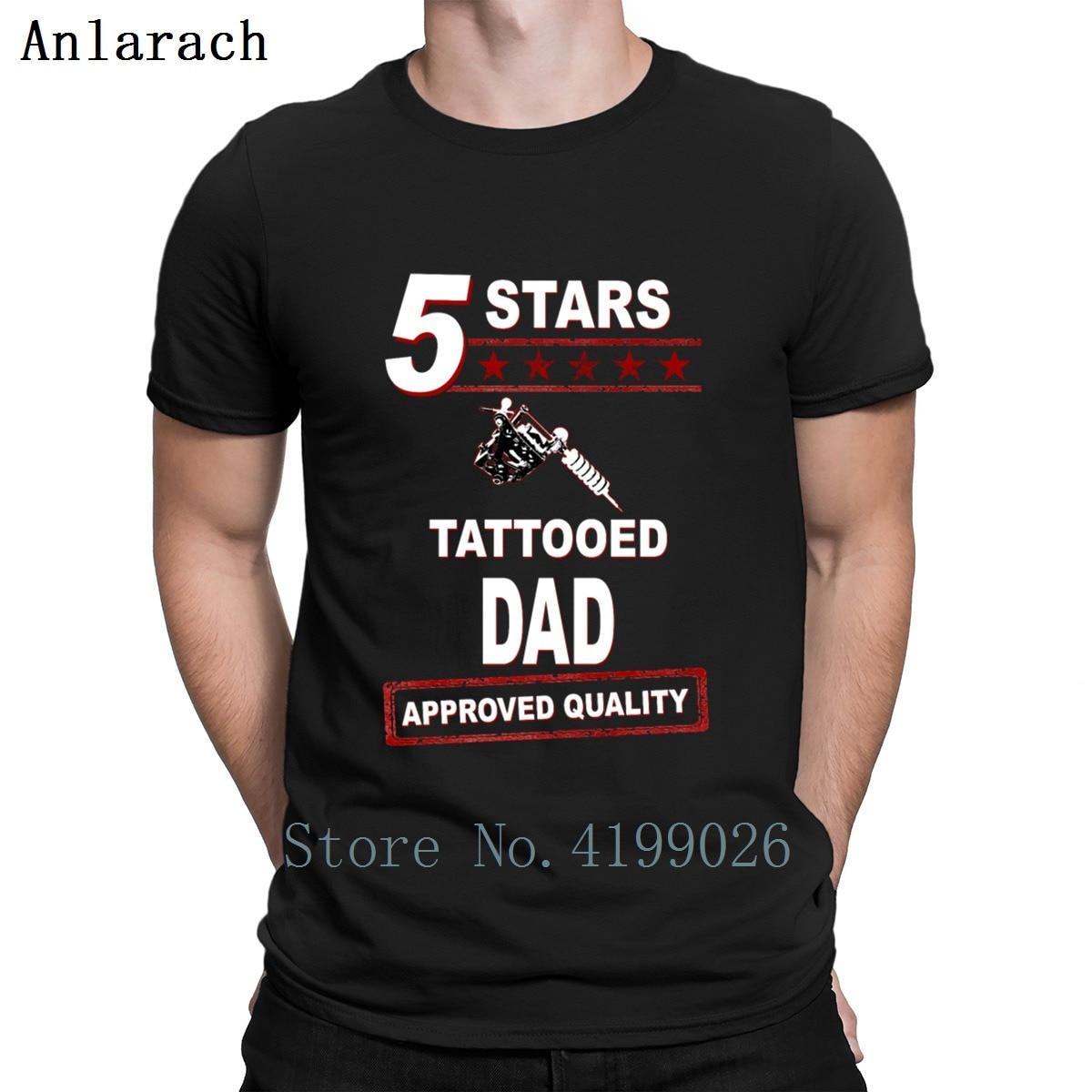 5 estrellas tatuado papá camiseta moda impresa Natural verano estilo O cuello algodón letras camiseta gráfica